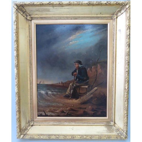 308 - GH? 1807, The Old Sailor, paper label verso: '? Near Shaldon', oil on board, 42 x 32cm, gilt gesso f...