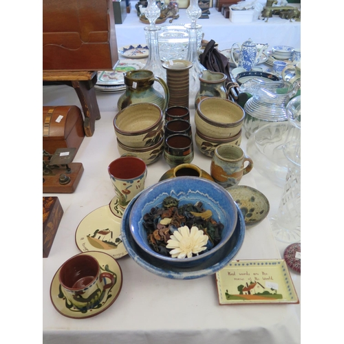 364 - Studio Pottery Bowls and Jugs, Westcountry motto ware etc...