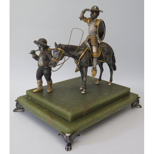 412 - An Italian Limited Edition Silvered and Gilt Sculpture (Juan Ponce de León?), base 28 x 22cm, 29cm t...