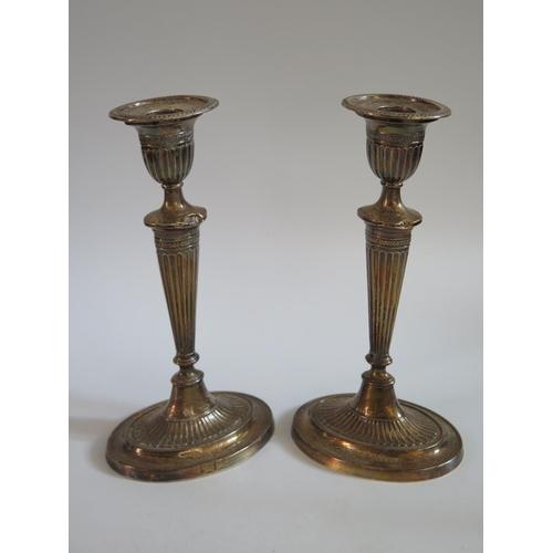 43 - A Pair Edward VII Silver Candlesticks, Birmingham 1902, 20.5cm...