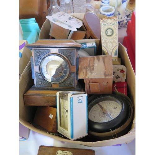 437 - Collection of Clocks, compass, binoculars etc...