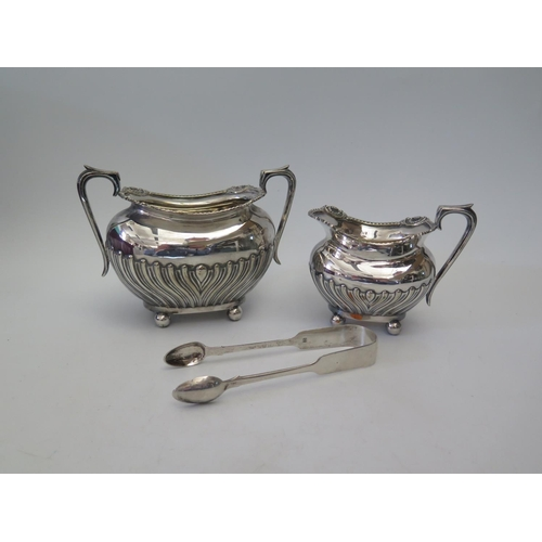 46 - A Pair of Victorian Silver Sugar Tongs, Exeter 1854, Josiah Williams & Co. and silver plated sugar a...
