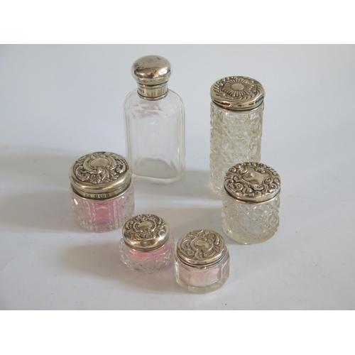 47 - Six Silver Top Cut Glass Dressing Table Pots...