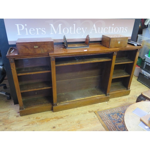 476 - A Victorian Mahogany Breakfront Low Open Bookcase...