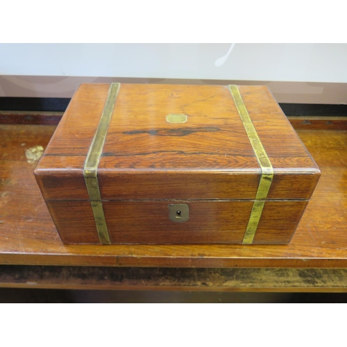 479 - A Victorian Rosewood and Brass Mounted Writing Box...