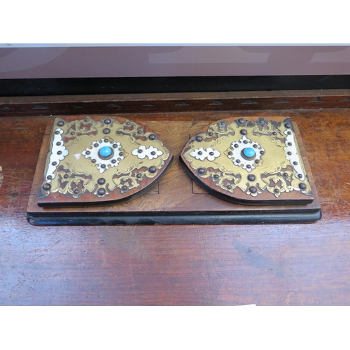 480 - A Victorian Gothic Walnut and Brass Mounted Extending Book Trough...