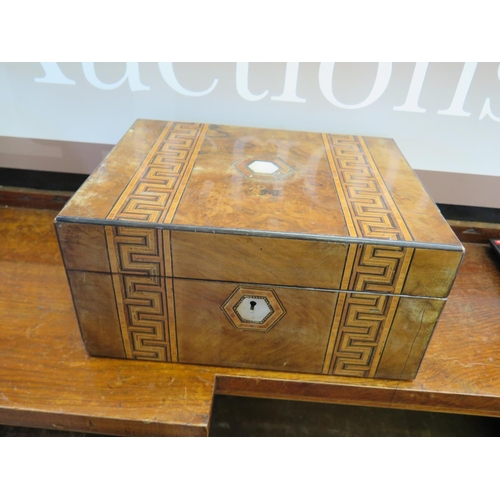 481 - A Victorian Walnut and Parquetry Box with sewing contents...