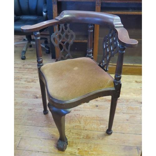 483 - A Mahogany Corner Chair and kick stool...