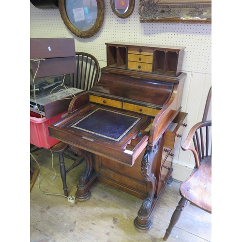 500 - A Victorian Rosewood Piano Top Davenport with spring loaded stationary compartment and pull out adju...