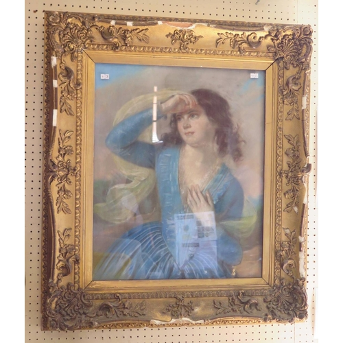 501 - A Nineteenth Century Pastel Portrait in distressed gilt gesso frame...