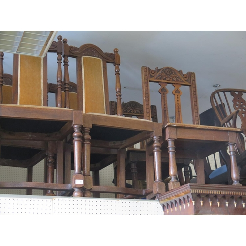 503 - A Set of Four Oak Side Chairs with drop in seats and padded backs and pair of oak side chairs with o...