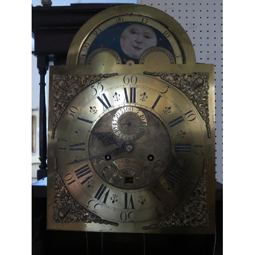 518 - An Eighteenth Century Eight Day Oak Longcase Clock, the brass dial with painted moonphase and subsid...