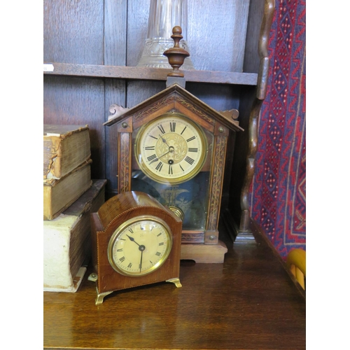 574 - An Edwardian Mahogany and Chequer Strung Mantle Clock and American mantle clock...