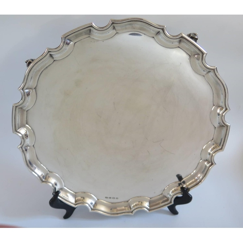 71 - A Large George VI Silver Salver with pie crust border, Sheffield 1937, Viners Ltd., 1059g...