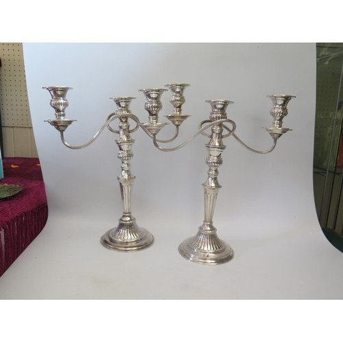 72 - A Pair of Sheffield Plate Three Branch Candelabra, c, 40cm high...