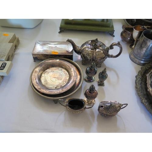75 - A Victorian Sheffield Plate Teapot, cruets etc...