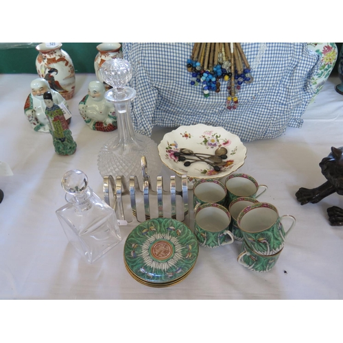 75b - Silver Coffee Spoons, plated toast rack, decanter and coffee cups with saucers...