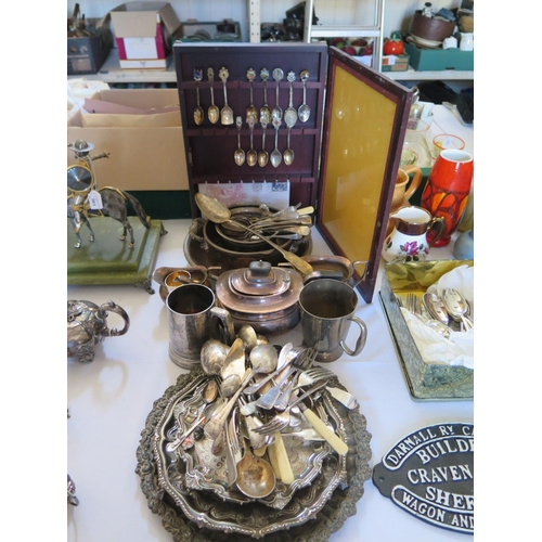 76 - A Selection of Silver Plate Including three part tea set, trays, collector's spoons and flatware...