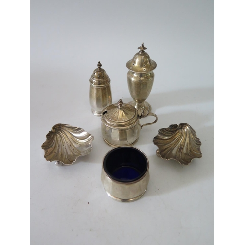 8A - A Pair of Victorian Silver Scallop Shaped Salts Sheffield 1896, three part Birmingham silver cruet a...