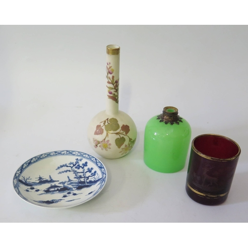 415a - Royal Worcester Vase, 18th century blue and white porcelain saucer, glass flask and beaker...