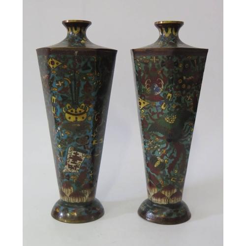272c - A Pair of Nineteenth Century Chinese Hexagonal Cloisonné Vases, 25.5cm...