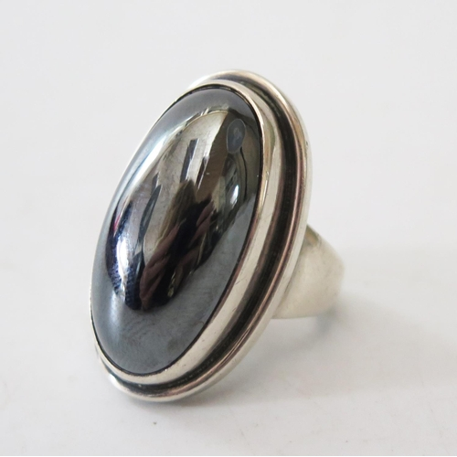 101 - A Georg Jensen Silver and Haematite Ring 46, size O.5...