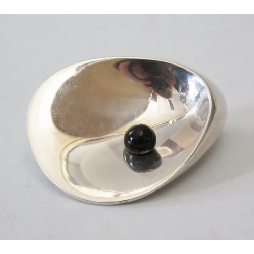 102 - A Georg Jensen Silver Brooch in the form of an oyster with pearl, 328, 52mm...