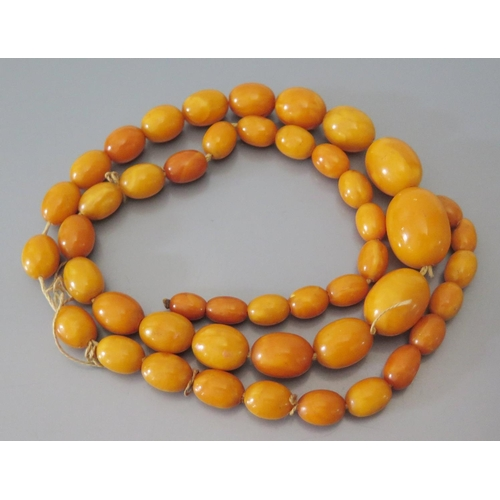 213 - A Graduated Baltic Butterscotch Amber Bead Necklace, largest bead c. 26 x 20mm, 59g...
