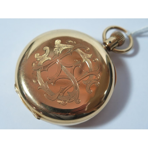 232 - An 18ct Gold Half Hunter Keyless Pocket Watch with blue enamel chapter ring, the 41mm enamel dial wi...