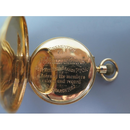 232a - An 18ct Gold Gent's Full Hunter Keyless Pocket Watch,  the 42mm enamel dial with sub seconds hand, m...