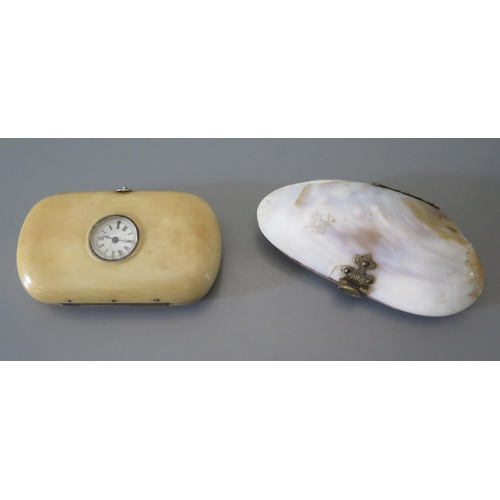 244 - A Lady's Ivory Purse with inset watch A/F and one other purse...