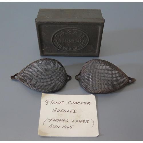 293 - A Pair of Stonesplitters Wire Mesh Goggles in tin box _ C.S.S.A Lo 136&138 Queen Victoria St. E.C....