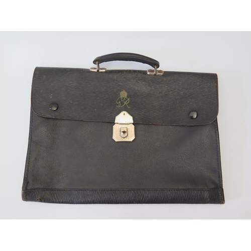 303 - A King George VI Monogrammed Leather Briefcase...