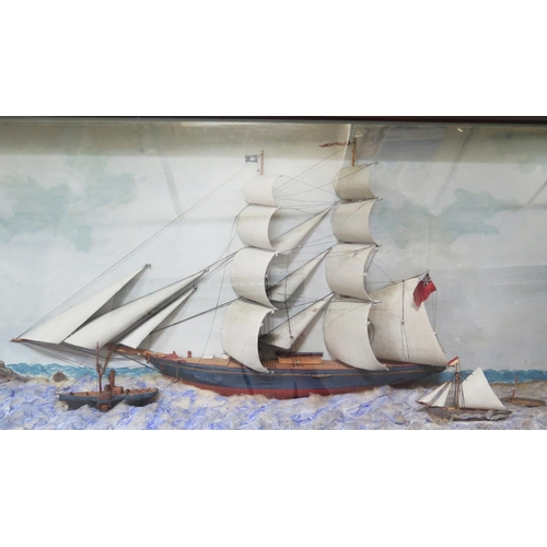 303a - A Nineteenth Century Ship Diorama with clipper, paddle steamer and three other vessels, 99 x 43 cm...