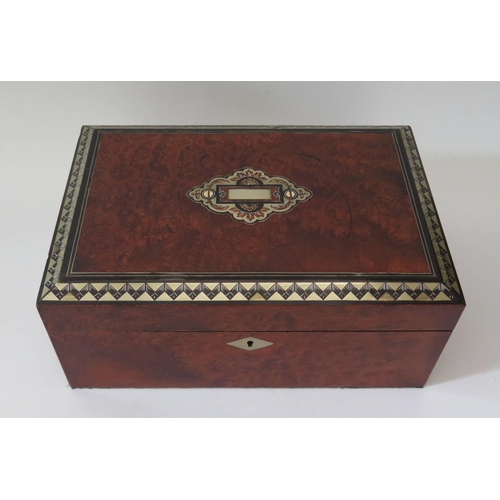 305 - A Victorian Burr Wood and Inlaid Sewing Box with mirror to underside of lid and fitted plush interio...