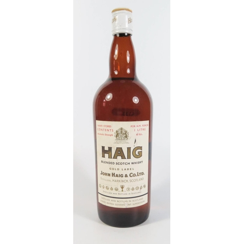 334a - An Old One Litre Bottle of Haig Whisky from NAAFI stores...