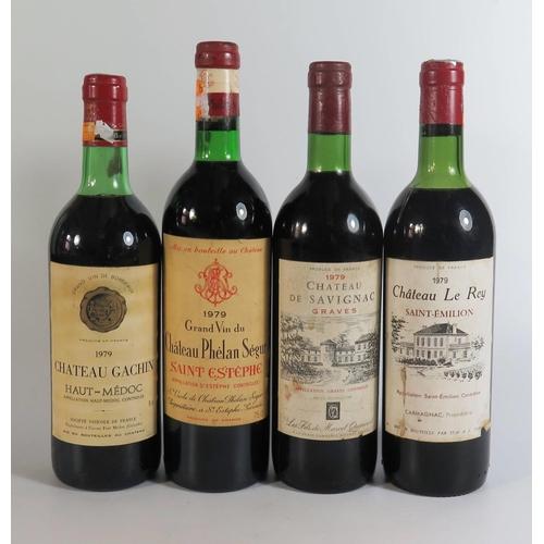 334b - Four Bottles of 1979 French Wine _ Chateau Phelan Segur, Chateau Gachin, Chateau Le Rey and Chateau ...