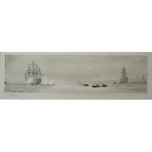 336 - W.L. Wyllie, H.M.S. Victory saluting H.M.S. Renown on the return of King George V and Queen Mary fro...