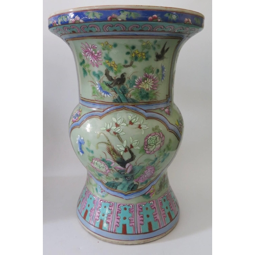 370 - A Pair of Nineteenth Cantonese Zun Shaped Celadon Porcelain Vases decorated with birds and foliage, ...
