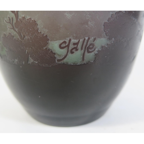 392 - An Émile Gallé Landscape Vase decorated with a tree lined mountainous lake scene, 20cm...