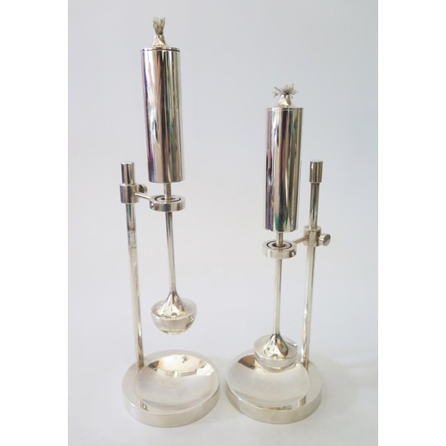47 - A Pair of Danish Ship's Gimbal Silver Plated Oil Lamps by Ilse D. Ammonsen, 27cm maximum height...