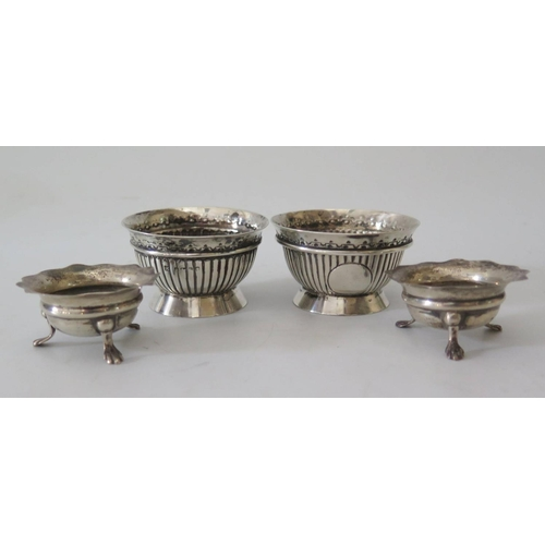 9 - A Matched Pair of Victorian Silver Salts with fluted decoration, London 1876 and one other and anoth...