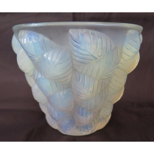 392A - A R Lalique Opalescent Moissac Vase, model no. 992 c. 1927, rubbed acid etched mark to base, 12.5cm...
