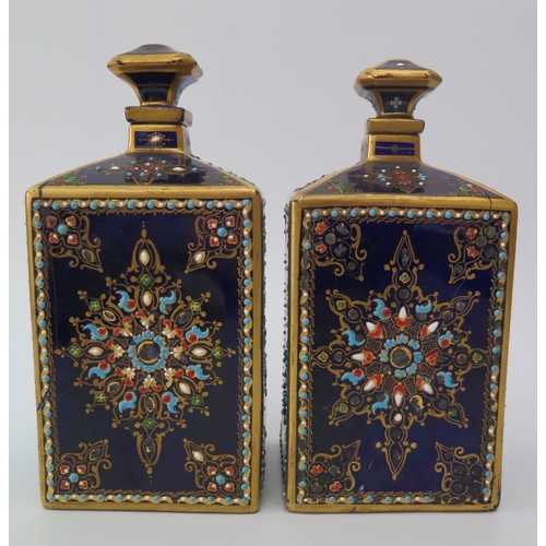 389a - An Eighteenth Century Sevres Porcelain Inkwell with matching pair of canisters bearing the monogram ...