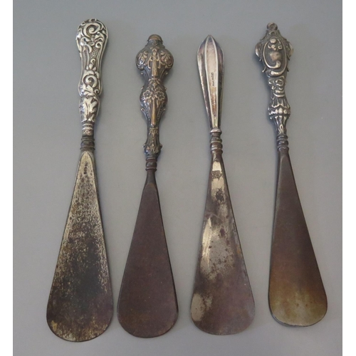 2 - A collection of silver mother of pearl and Bone handled manicure items and four silver handled shoe ...