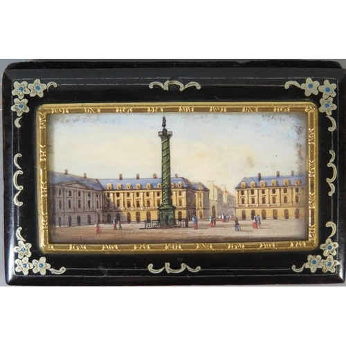 346 - A 19th century French aide memoire decorated with miniature scene of city Square...
