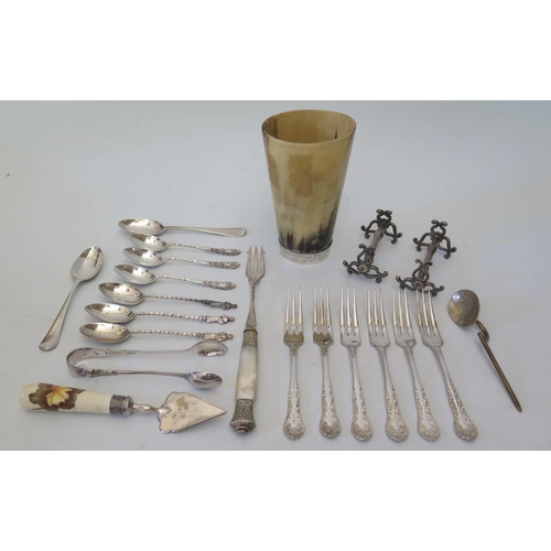 41 - A Carmarthen golf club silver banded horn drinking cup and other silver and plate...
