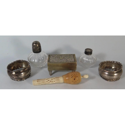 5 - A pair of silver napkin Rings silver topped pepper ,plated chamber stick etc...