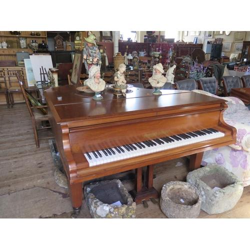 504 - A Gors & Kallmann mahogany cased baby grand piano...