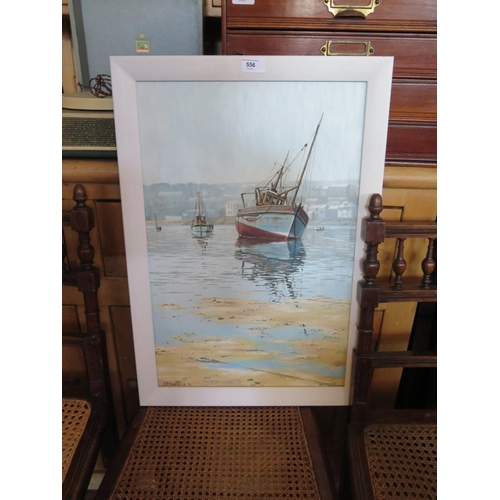 556 - Geoffrey Russell Hen??, Fishing boat at low tide, gouache...